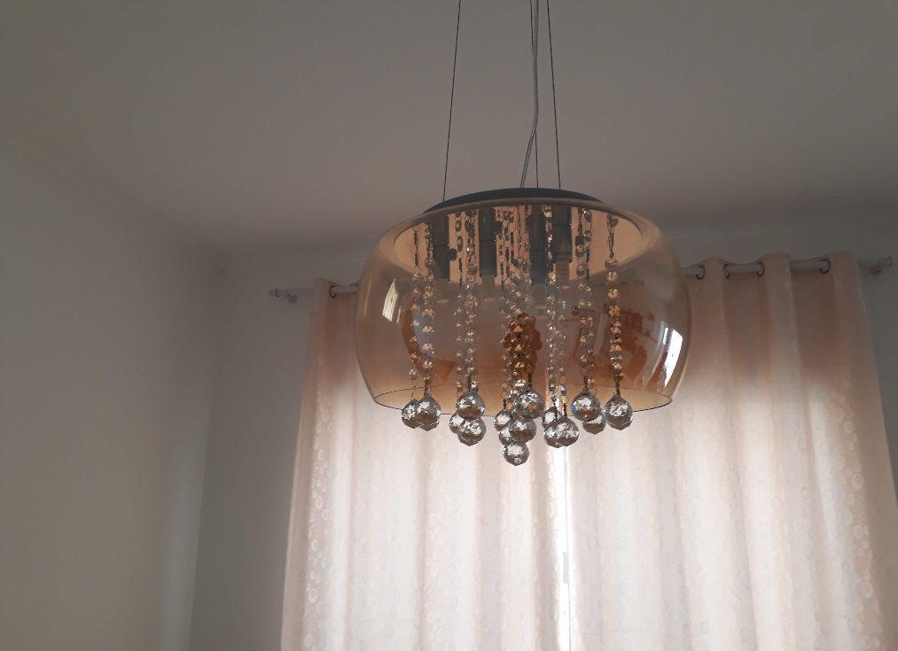 Lustre 40cm 5 lampada G9 Pendente Plafon Soho PD002AM Ambar  - OUTLED ILUMINAÇÃO