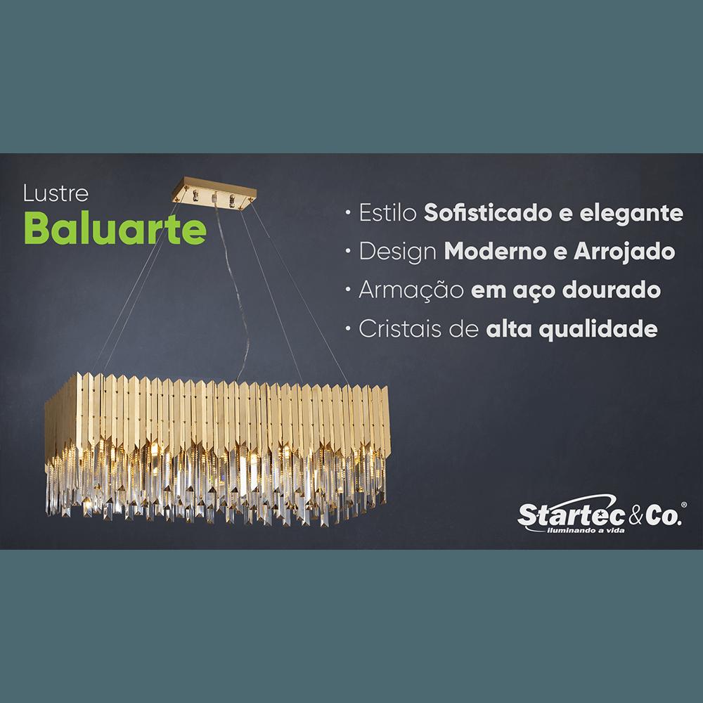 Lustre Cristal Baluarte Retangular Dourado 140140052 G9 Bivolt