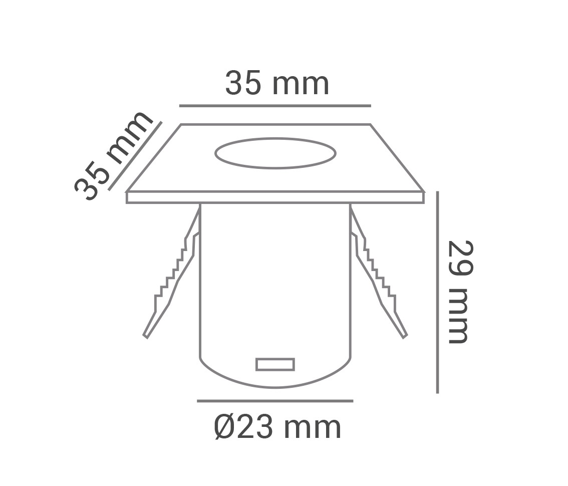 Spot Embutir Quadrado Móveis Planejado MINI 1.2w LED Branco Quente 3000k Ø35 x 28mm Branco ECO 34416