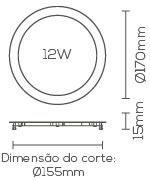 PAINEL LED 12W 6000K EMBUTIDO SLIM  REDONDO LE-4612  - OUTLED ILUMINAÇÃO