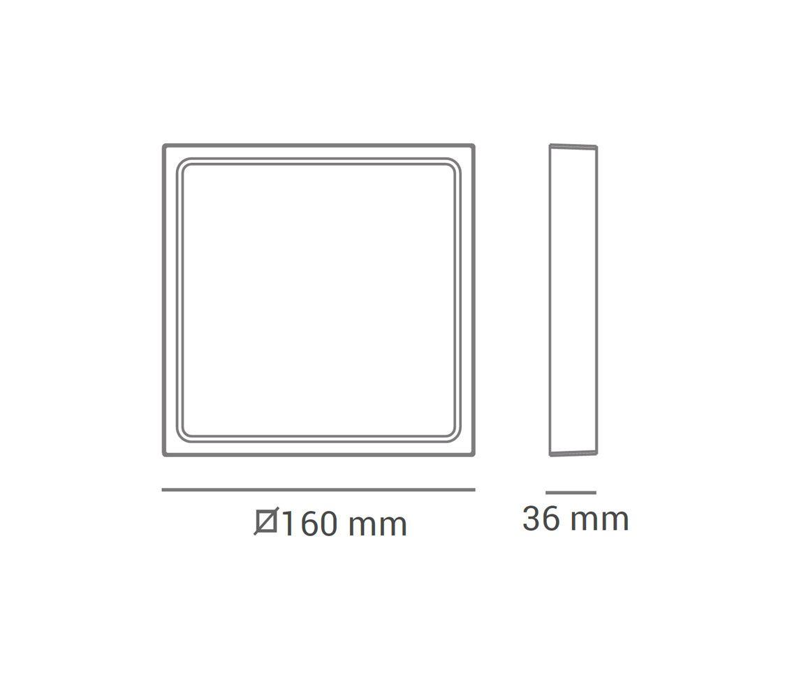Painel Sobrepor Quadrado 12w LED 6500k Branco Frio 16x16cm ECO 31651