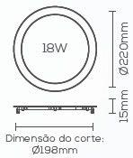 PAINEL LED 18W 3000K EMBUTIDO SLIM REDONDO LE-4613  - OUTLED ILUMINAÇÃO