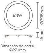 PAINEL LED 24W 6000K EMBUTIDO SLIM REDONDO LE-4616  - OUTLED ILUMINAÇÃO