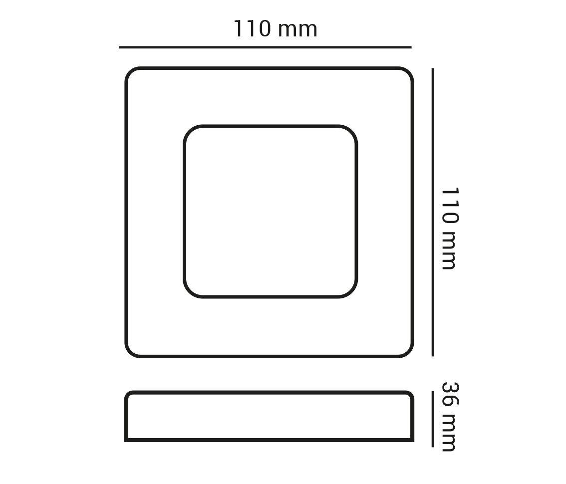 Painel Led 6w 3000k Branco Quente Sobrepor Quadrado Bivolt ECO 30791 - Opus