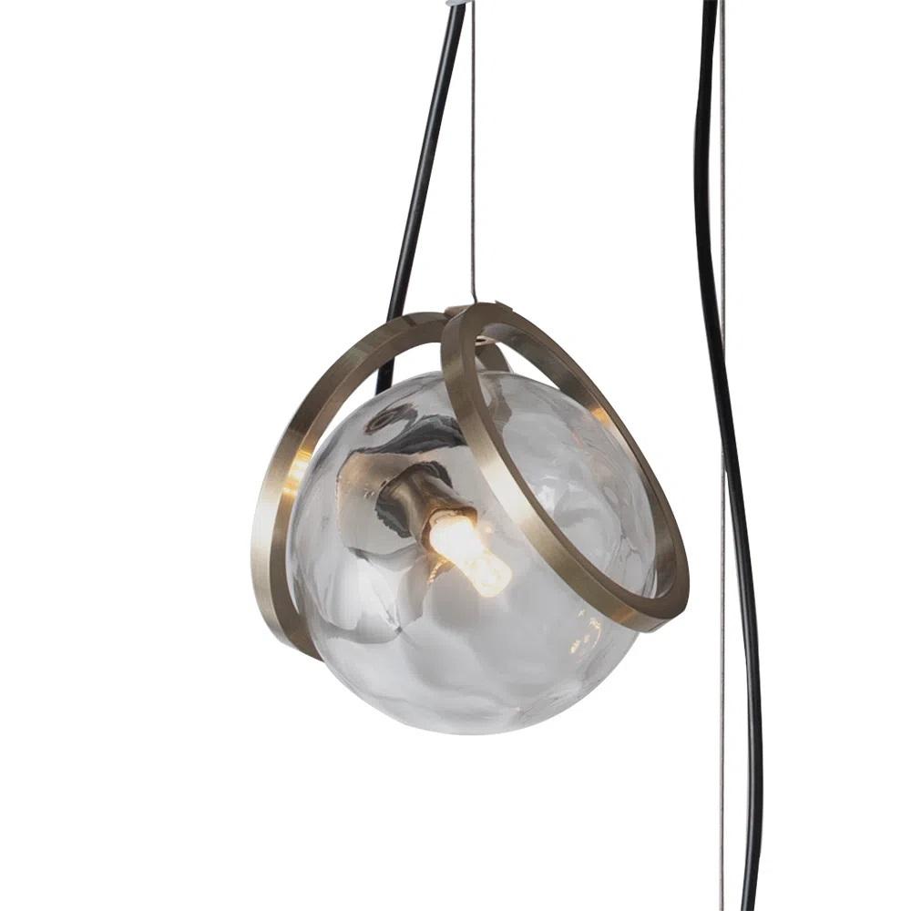 Pendente Tahi Dourado e Transparente (d)38cm (a)15cm 3xg9 RE014L