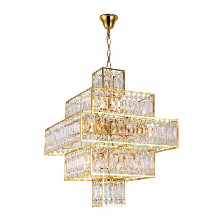 Pendente Taj 60x60x83cm E14 Bivolt French Gold/Transp Bella MR006  - OUTLED ILUMINAÇÃO