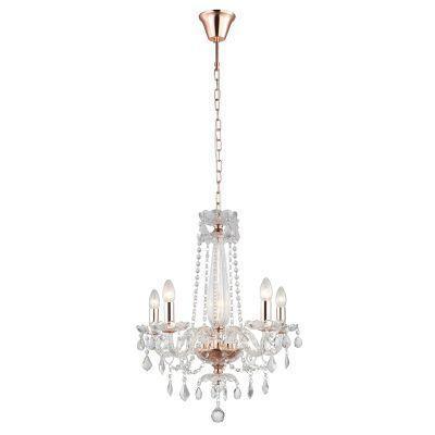 Pendente Tyene 54x63cm 5 Lampada E14 Transparente / Rose Jf305  - OUTLED ILUMINAÇÃO