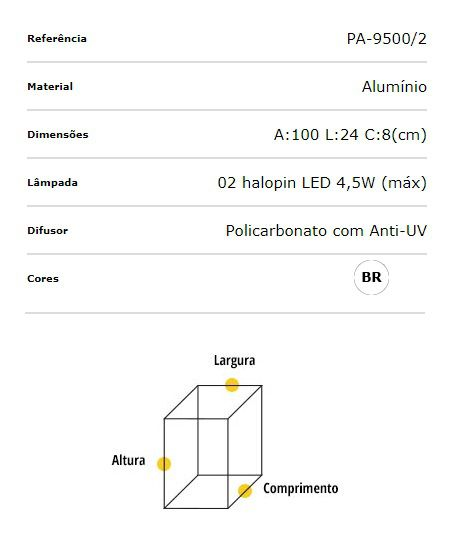 Poste Balizador Alumínio 100cm Halopin 2xG9 Flash Quadrado PA-9500/2 Ideal  - OUTLED ILUMINAÇÃO