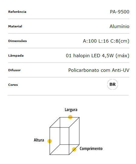 Poste Balizador Alumínio 100cm Halopin G9 Flash Quadrado PA-9500 Ideal