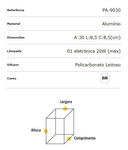 Poste Balizador Alumínio 30cm Lampada E27 Flash Quadrado PA-9030 Ideal