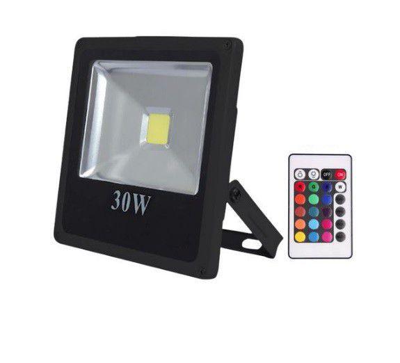 Refletor 30w RGB LED Holofote Bivolt Colorido Controle  - OUTLED ILUMINAÇÃO