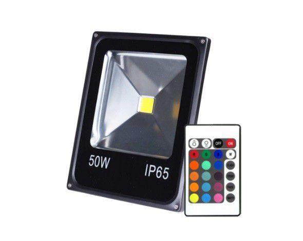 Refletor 50w RGB LED Holofote Bivolt Colorido Controle  - OUTLED ILUMINAÇÃO