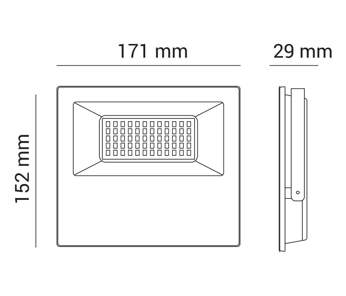 REFLETOR LED 50W RGB 120° QUADRADO PRETO BIVOLT PRO 30098