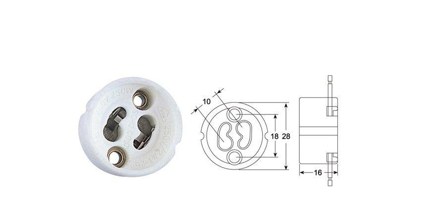 Soquete Porcelana GU10 Lampada Dicroica MR16 e MR11 com Rabicho