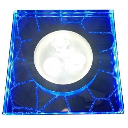Spot LED 3w 6000k Embutir Quadrado Borda Azul Bivolt  - OUTLED ILUMINAÇÃO