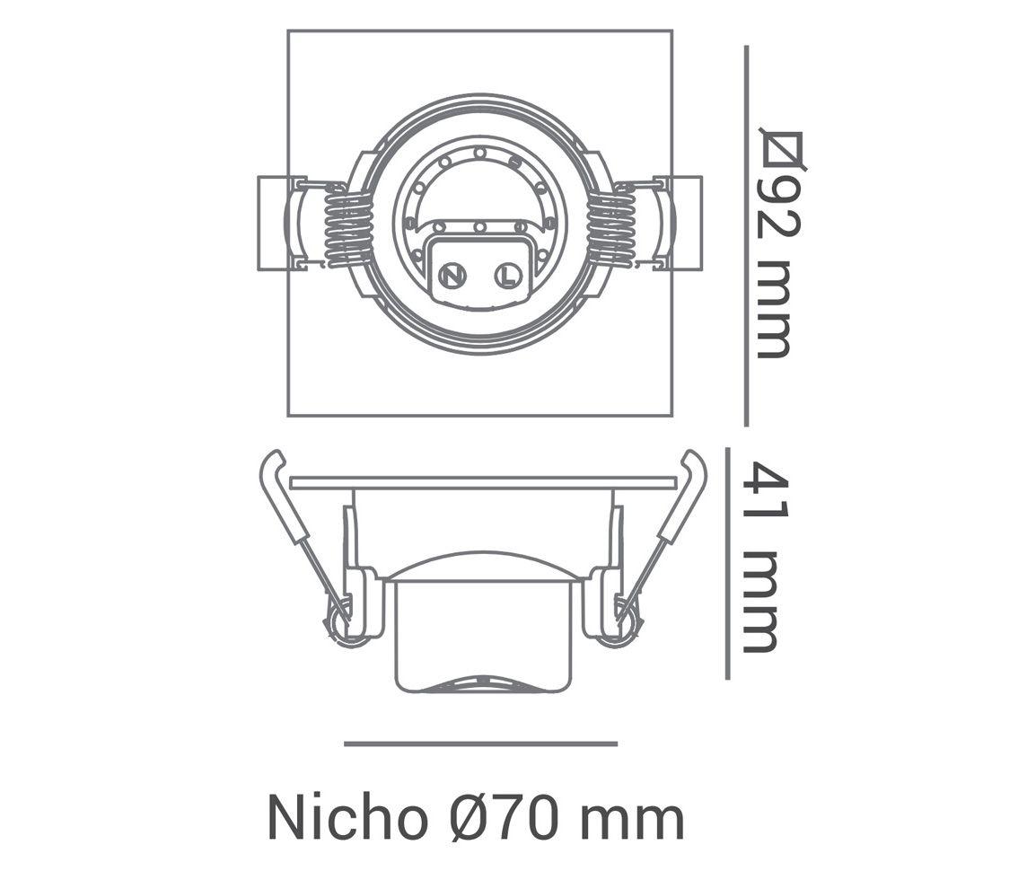 Spot de Embutir Quadrado Bivolt 4000k 5w ECO 34881 Opus