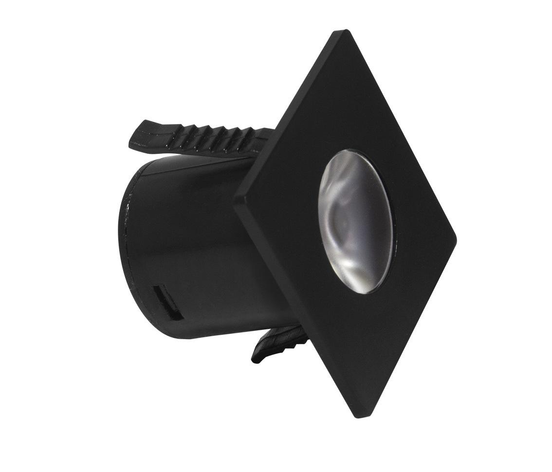 Spot Embutir Quadrado 1.2w LED Branco Quente 3000k Móveis Planejado MINI Ø35 x 28mm Preto ECO 34409