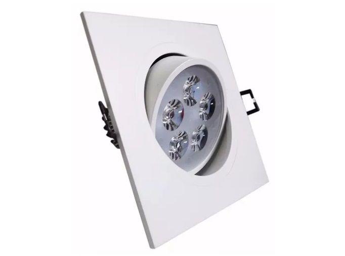 Spot 5w 3000k LED Quadrado Direcionável Embutir Branco Quente  - OUTLED ILUMINAÇÃO