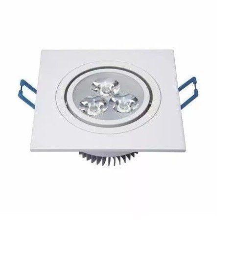 Spot LED 3w 6000k Bivolt Quadrado Branco Frio  - OUTLED ILUMINAÇÃO