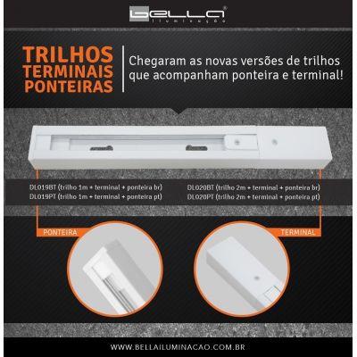 TRILHO ELETRIFICADO 2 METRO BRANCO C/TERMINAL E PONTEIRA DL020BT  - OUTLED ILUMINAÇÃO