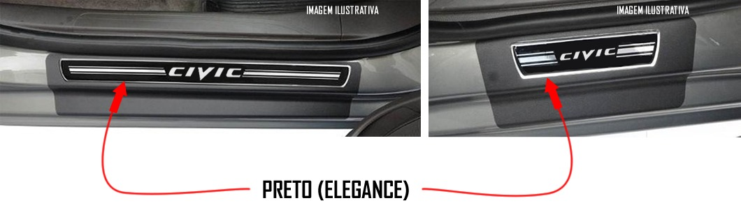 Soleira de Porta Premium Honda New Civic 2006 até 2016  - Só Frisos Ltda