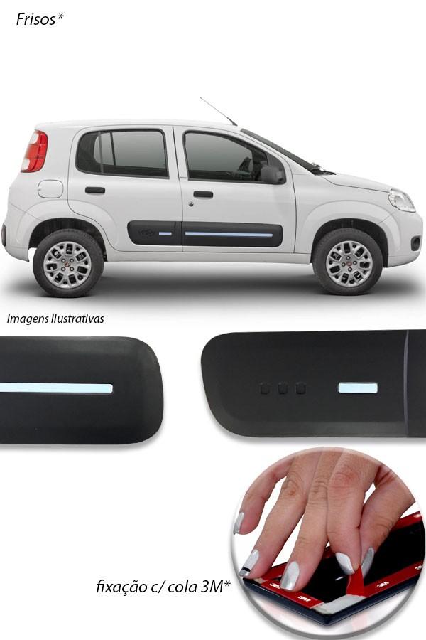 Aplique Cromado Friso Lateral Fiat Uno 2011 até 2017  - Só Frisos Ltda