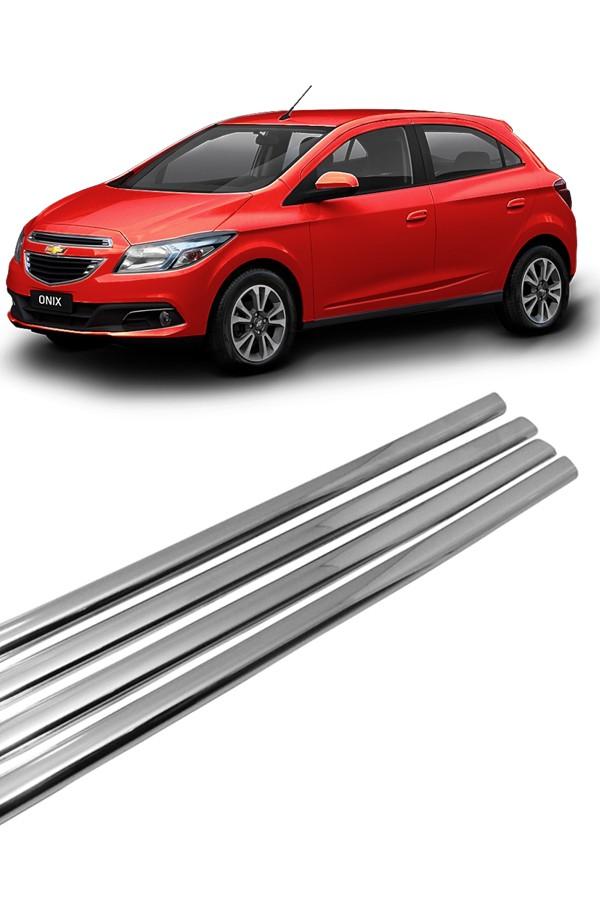 Kit Aplique Cromado Pestana Chevrolet Onix e Novo Prisma  - Só Frisos Ltda