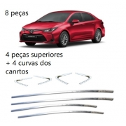 Aplique Friso Cromado Janela Superior Corolla 2020 2021 kit 8 peças