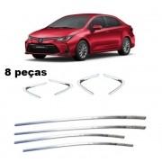 Aplique Friso Cromado Janela Superior Corolla 2020 2021kit 8 peças