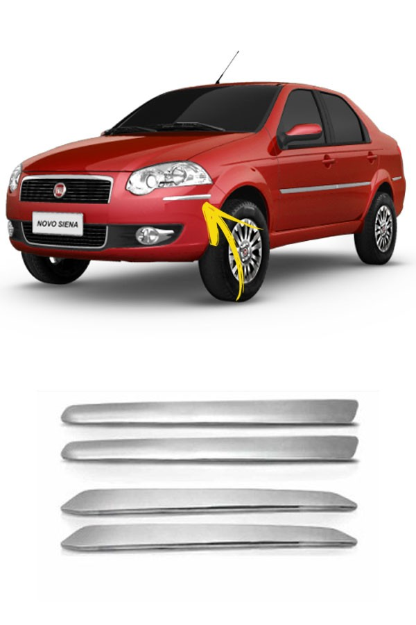 Aplique Cromado Para Choque Fiat Siena  - Só Frisos Ltda