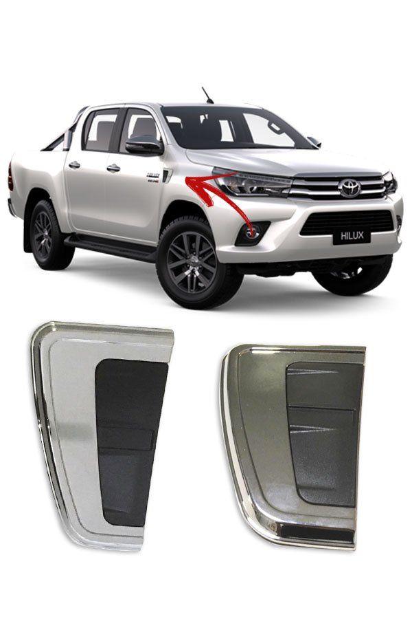 Aplique Cromado Entrada Ar Para-lama Toyota Hilux 2016/...   - Só Frisos Ltda