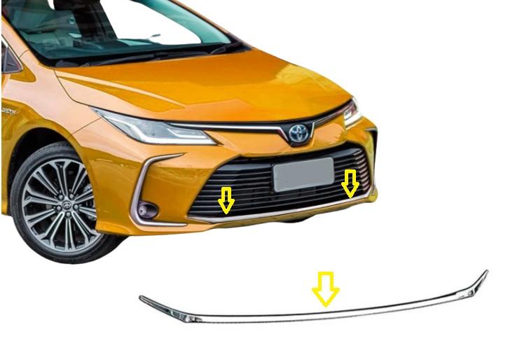 Aplique Cromado Parachoque Dianteiro Corolla 2020 2021  - Só Frisos Ltda