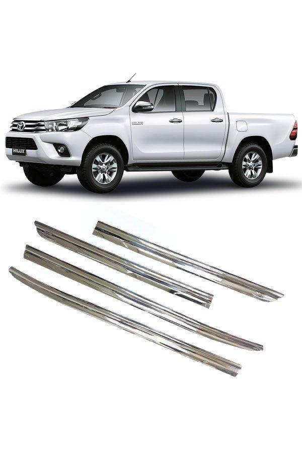 Aplique Cromado Pestana Toyota Hilux 2016 17 18 19 20  - Só Frisos Ltda