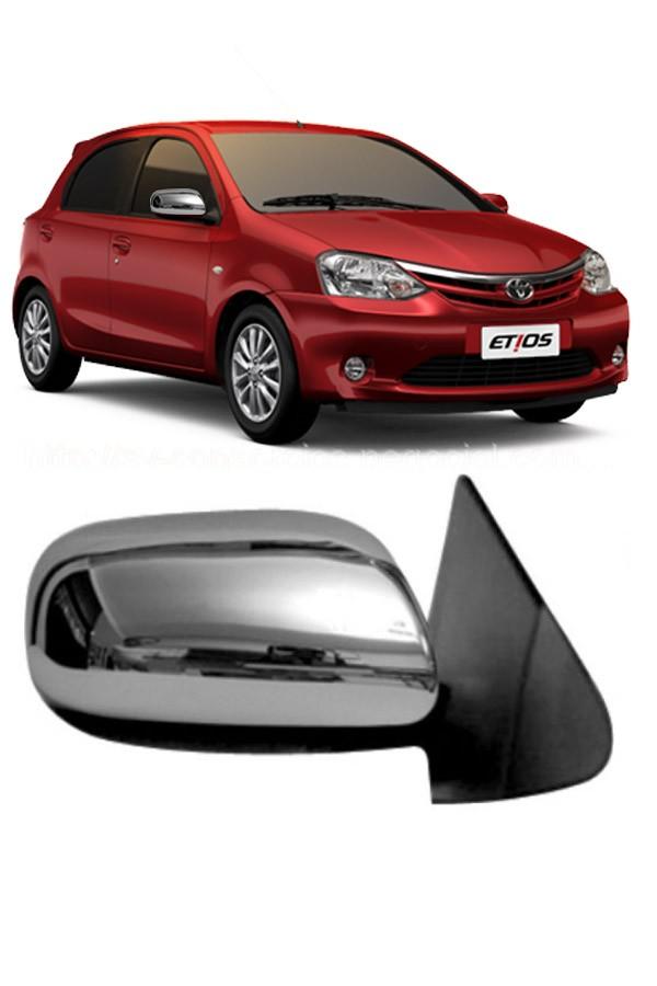 Aplique Cromado Retrovisor Toyota Etios até 2014  - Só Frisos Ltda