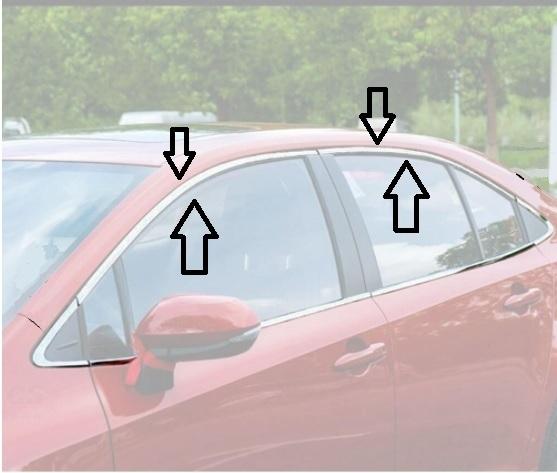 Aplique Friso Cromado Janela Superior Corolla 2020 2021 kit 4 peças  - Só Frisos Ltda