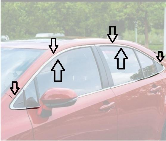Aplique Friso Cromado Janela Superior Corolla 2020 2021 kit 8 peças  - Só Frisos Ltda