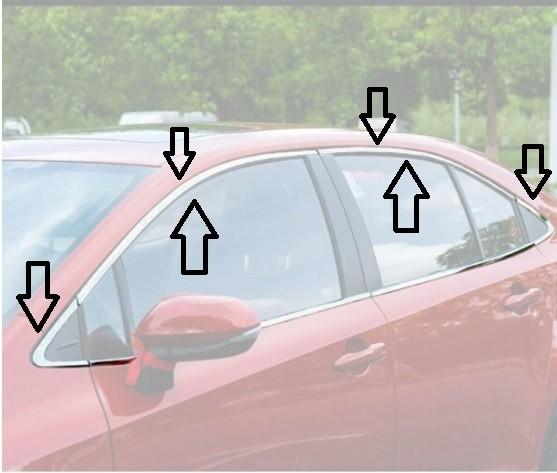 Aplique Friso Cromado Janela Superior Corolla 2020 2021kit 8 peças  - Só Frisos Ltda