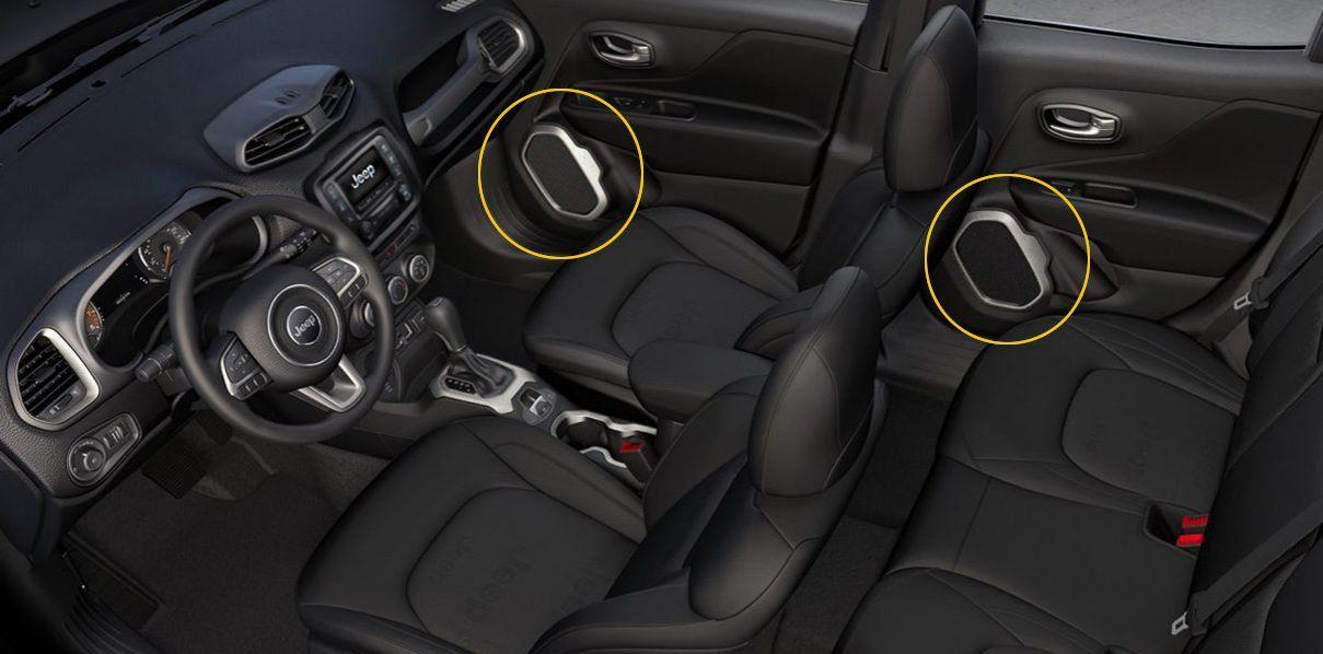 Aplique Prata Alto Falante Jeep Renegade 4pçs  - Só Frisos Ltda