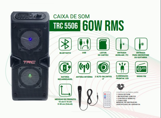 Caixa de Som Amplificada Portatil Bluetooth 60W RMS  com Microfone  - Só Frisos Ltda