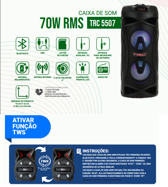 Caixa de Som Amplificada Portatil Bluetooth 70W RMS  - Só Frisos Ltda