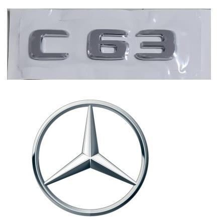 Emblema Tampa Traseira Mercedes Benz C 63 c63  - Só Frisos Ltda