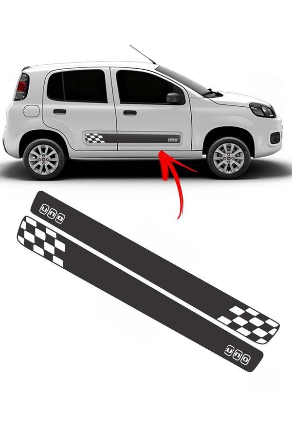 Faixa Lateral Fiat Uno Podium Preto/Branco  - Só Frisos Ltda