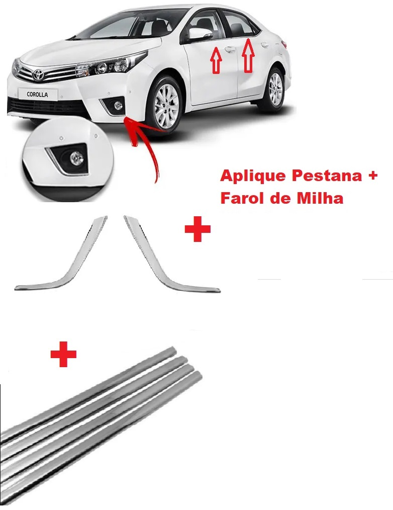 Kit Cromado Corolla 2015 a 2017 Milha + Pestana  - Só Frisos Ltda
