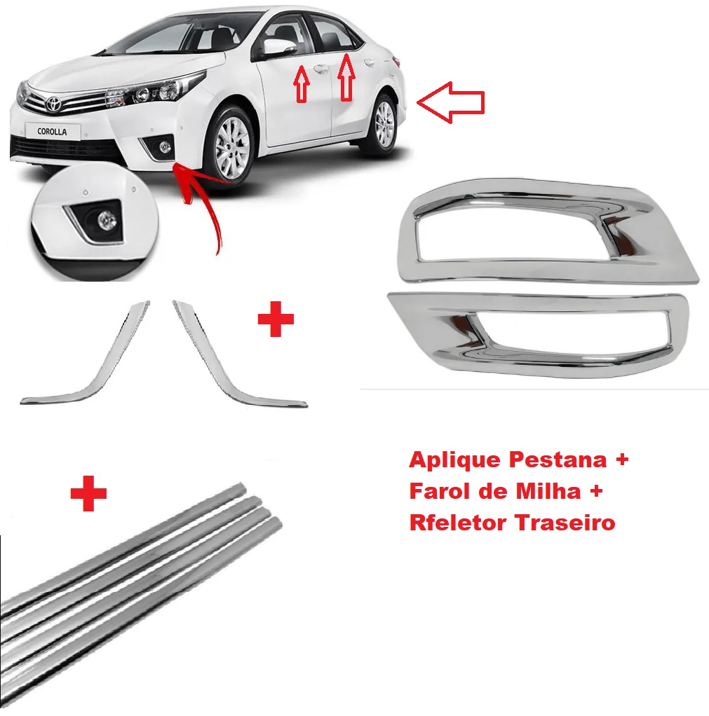 Kit Cromado Corolla 2015 a 2017 Milha + Pestana + Refletor  - Só Frisos Ltda