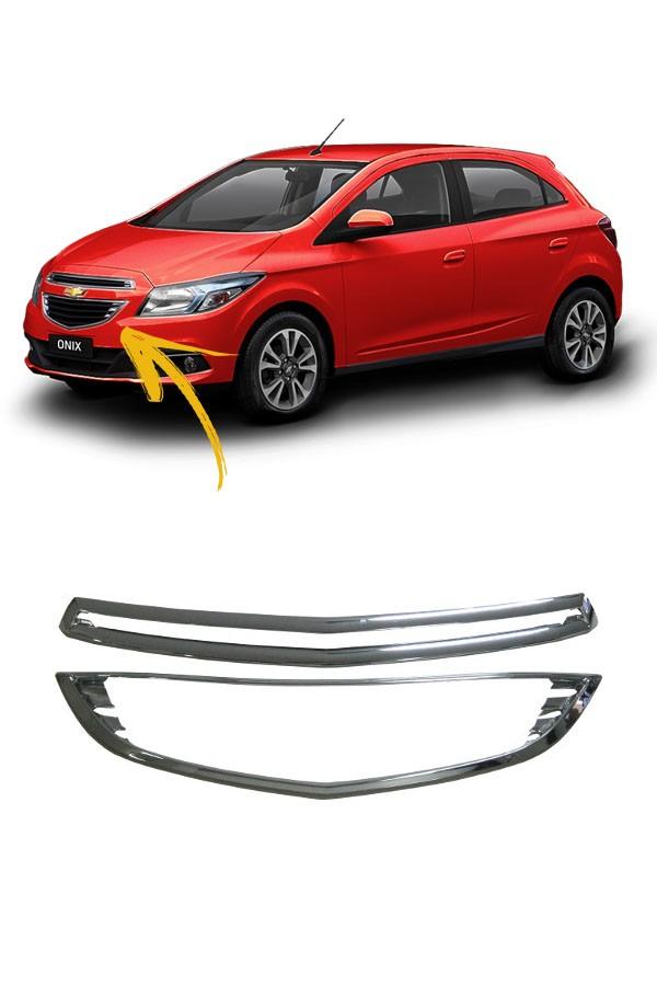 Moldura Da Grade Dianteira Cromado Chevrolet Onix 2013 até 2016  - Só Frisos Ltda