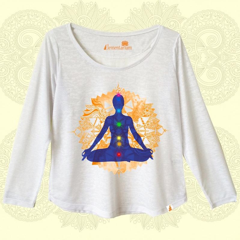 Camiseta Meditação Mandala Laranja