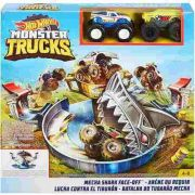 Hot Wheels Pista Monster Trucks Batalha do Tubarão Mecha  Com 2 Carrinhos Mattel
