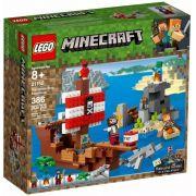 Lego 21152 Minecraft  A Aventura Do Barco Pirata – 386 peças