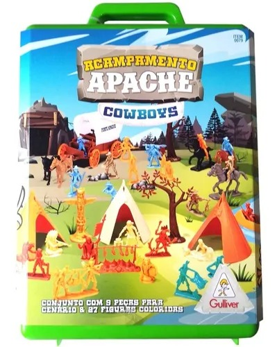 Acampamento Apache Cowboys Maleta C/27 Figuras Coloridas - Gulliver