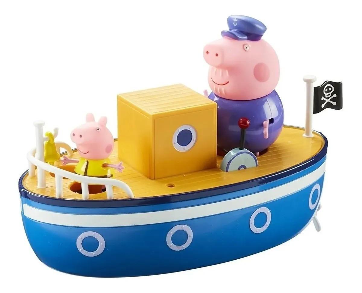 Barco Do Vovô Pig Peppa Pig C/ 2 Bonecos Articulados - Flutua na Água  - Sunny